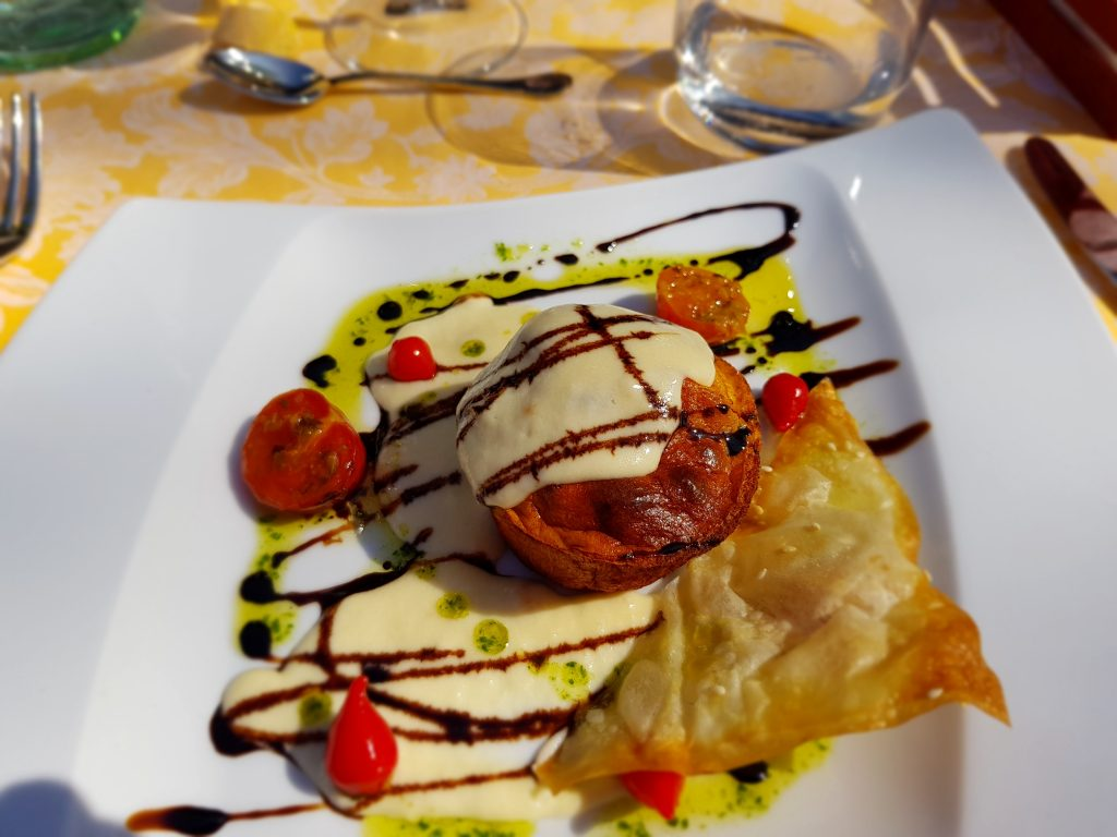 Flan di zucca con fonduta di Parmigiano Reggiano