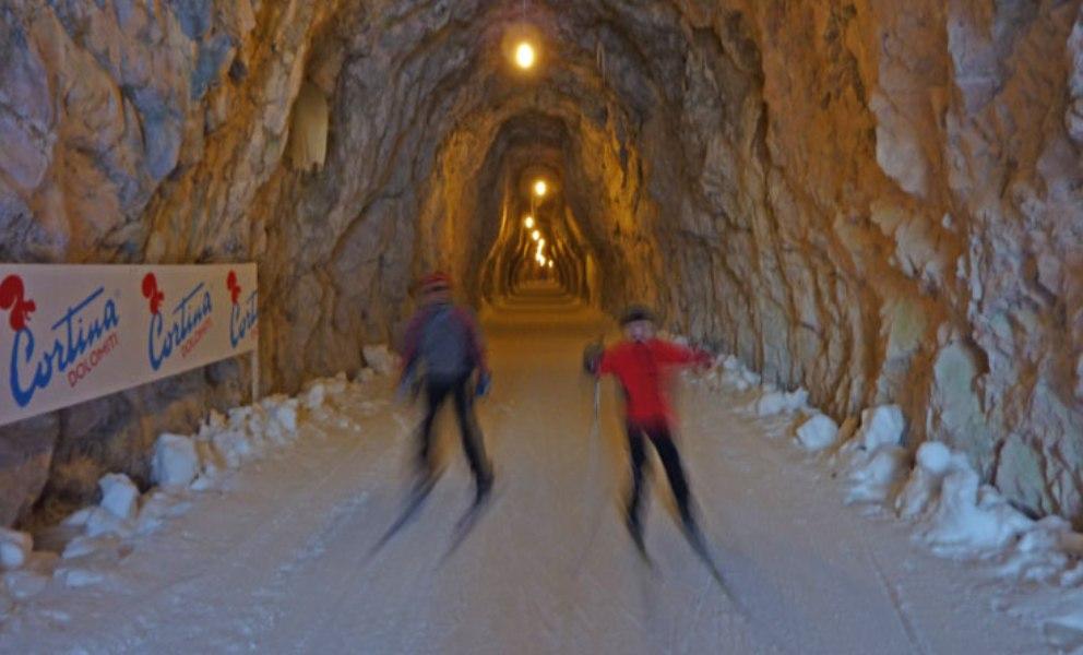 sci di fondo in camper sulla pista della Dobbiaco Cortina