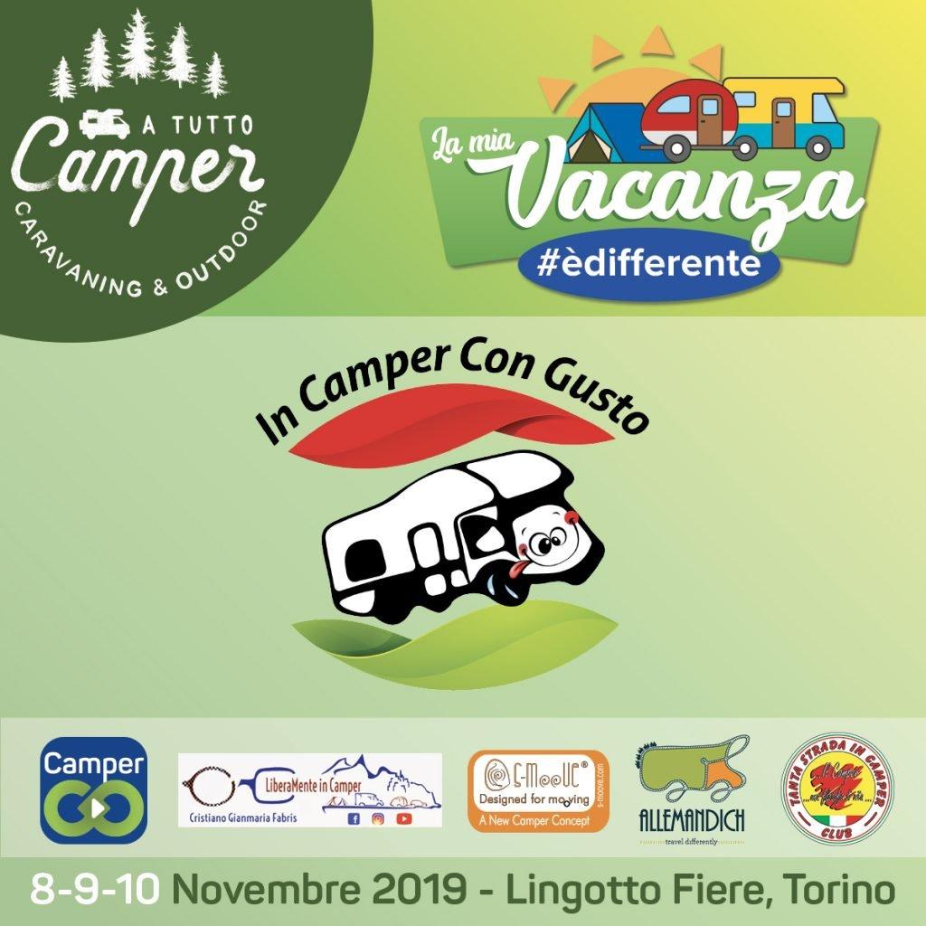 Logo In Camper Con Gusto insieme a La mia Vacanza #èdifferente