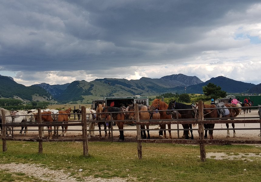 Parco Sirente Velino in camper: a cavallo