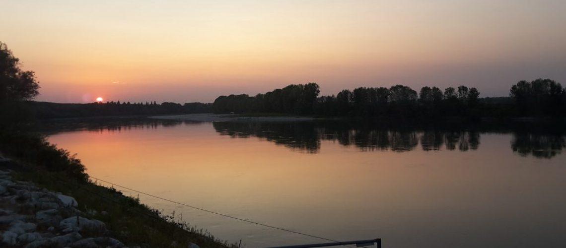 Il tramonto del Po a Mezzani